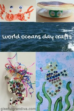 5 fun crafts to help teach the kids about World Oceans Day and the importance of our oceans for our survival and the health of our planet. Learning Games For Preschoolers, Preschool Games, Learning Toys, Toddler Preschool, Toddler Crafts, Toddler Toys, Preschool Crafts, Fun Crafts, Crafts For Kids