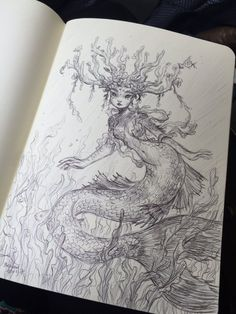 10 mesmerising MerMay 2017 artists I grouped the aforementioned questions concerning the pencil drawing that I … Fantasy Kunst, Fantasy Drawings, Cool Art Drawings, Art Drawings Sketches, Fantasy Art, Fantasy Tattoos, Amazing Drawings, Mermaid Artwork, Mermaid Drawings