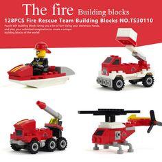 128 UNIDS Equipo de Bomberos Ensamblar Bloques de Construcción de Helicópteros de Juguete Educativo Temprano Brinquedos Juguetes de Camiones