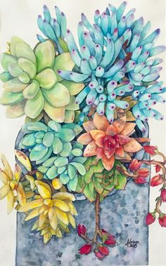 Watercolor  Succulents 8/19/15 Available prints at www.fairymadeart.storenvy.com