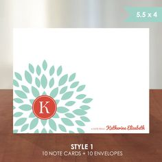 Personalized Stationery // Flat or Folded Note Card // by k8inked