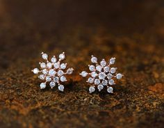 Snowflake Earrings Snow Winter Theme Cool Frozen Jewelry Stud Post Gift Idea Color Select by authfashion