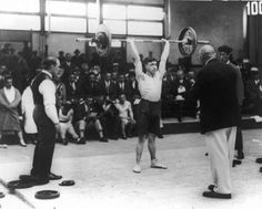 Alf Baxter of Great Britain competes in a weightlifting event at the Amsterdam Olympics, 1928. http://www.teamgb.com/games/amsterdam-1928