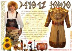 IX.-X. sz. Férfi bőr/vászon köntös /kaftán/ széles barna színű bőr/nemez fegyverövvel... /NAZCA Műhely/