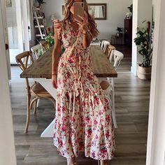 Vestido Maxi Floral, Vestido Casual, Casual Summer Dresses, Summer Dresses For Women, Dress Summer, Dress Casual, Spring Summer, Ruffles, Ruffle Dress