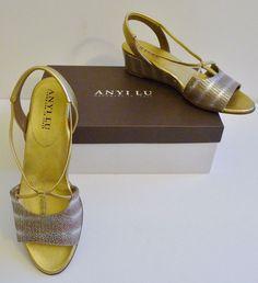 "Anyi Luv NIB  ""Linda"" Wedge Sling Back Gold & Silver Sandals Size 9 Retail $385. #AnyiLu #Slingbacks"