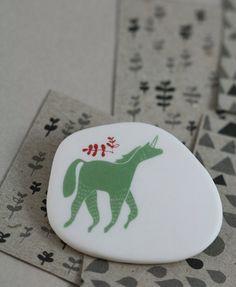 Unicorn  Sage   Porcelain Brooch by annarubyking on Etsy