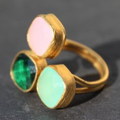 Egypt Ring - 24k Gold Dipped Triple Gemstone Floating Ring