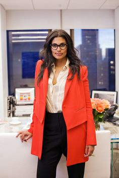 """Studio Stalking: Rachel Roy's Glam Work Digs #refinery29  http://www.refinery29.com/studio-stalker-rachel-roy#slide21  I love that your clothing mixes neutrals and bold pops of color, any advice on wearing color in winter and/or how to mix it up for work? """"Color is one of my favorite accessories. I use pops of color in my clothing like I would use it in a ring, necklace, or shoe. I find women are sometimes weary of bright hues — baby steps. First try a colorful shoe with an all black look…"""