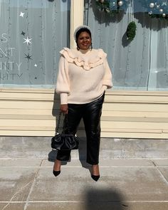 Flounce sweater, coated pants and pumps   For more style inspiration visit 40plusstyle.com