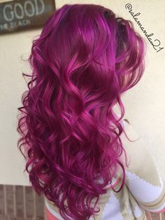 Red pink purple magenta Arctic Fox color done by Manda Heath @salamanda21