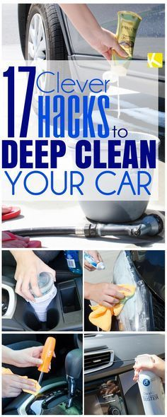 16 Seriously Clever Tricks to Deep Clean Your Car In the spring cleaning mood? Or maybe you just want some car cleaning tips using the products you already have at home. These tricks will show you how to detail your ride for cheap. Car Cleaning Hacks, Deep Cleaning Tips, Car Hacks, House Cleaning Tips, Diy Cleaning Products, Cleaning Solutions, Spring Cleaning, Hacks Diy, Cleaning Car Seats
