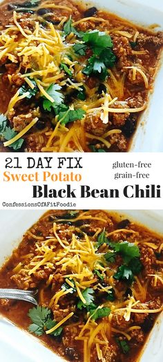 21 Day Fix Sweet Potato and Black Bean Chili (Stovetop/Instant Pot) - Confessions of a Fit Foodie - day fix - Healthy Recipes Vegan 21 Day Fix, 21 Day Fix Vegetarian, 21 Day Fix Diet, 21 Day Fix Meal Plan, Black Bean Chili, No Bean Chili, Black Beans, Bean Chilli, Clean Eating Recipes