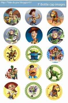 "Free Toy Story digital bottle cap images 1"" bottle cap images / 4x6 paper / 300dpi - You can print and use them for your art project, ..."