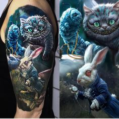 Image may contain: one or more people Alice In Wonderland Tattoo Sleeve, Dark Alice In Wonderland, Alice In Wonderland Drawings, Cheshire Cat Drawing, Cheshire Cat Tattoo, Chesire Cat, Body Art Tattoos, Sleeve Tattoos, Cool Tattoos
