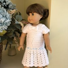 Handmade Crochet White Dress with Bow and Heart by CreoCrochet