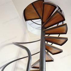 escalier en colimaçon (structure acier et marches en bois) STYLE WOOD Alfa Scale