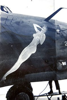 #pinup #nose-art // WWII era bomber