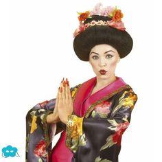Peluca de geisha con flores