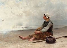 Waiting By The Ocean Artwork By August Wilhelm Nikolaus Hagborg Oil Painting & Art Prints On Canvas For Sale Lawrence Alma Tadema, Alfred Stevens, John William Waterhouse, Seaside Art, Beach Art, Canvas Art Prints, Oil On Canvas, Ocean Artwork, Amber Tree