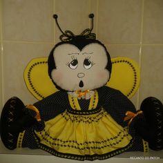 Peso de porta Joaninha e abelhinha - Br Artesanato