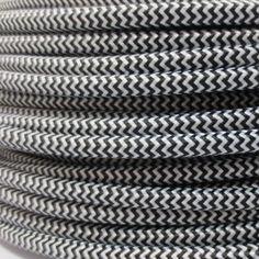Retró kábel textil borítással Fekete-fehér vasalókábel