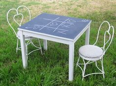 Shabby Chic Kids Chalkboard Table And Vintage Ice Cream Parlor Chairs