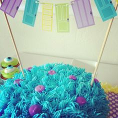 Monsters Inc party- perfect (simple) cake topper. This is exactly the cake Maddie and I were talking about the other day when she announced she wants a Monsters Inc party! Monster Inc Party, Monster Birthday Parties, 3rd Birthday Parties, 2nd Birthday, Birthday Ideas, Monster Inc Cakes, Monsters Inc, Baby Shower, Craft Party