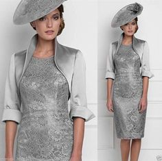 Silver Mother of The Bride Outfit Wedding Party Dress Formal Suit Free Jacket