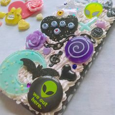 READY TO SHIP Alien galaxy space kawaii cute creepy cute decoden phone... ($15) ❤ liked on Polyvore featuring accessories and tech accessories