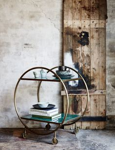 www.roseandgrey.co.uk round-brass-and-marble-drinks-trolley