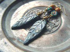 Leaf Long Earrings, Clay Leaves Jade Green Czech Glass Orange Dangle Earrings, Boho Rustic Woodland Jewelry, Golden Wired Beaded Earrings
