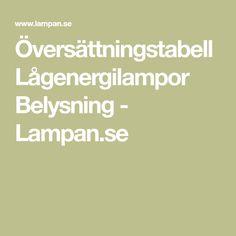 Översättningstabell Lågenergilampor Belysning - Lampan.se
