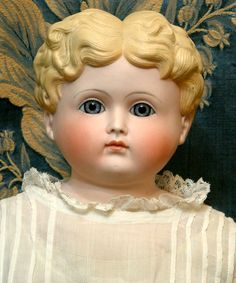 """25"""" RARE TINTED BISQUE Antique Doll closed/m Glass"""