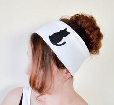 Cat Halloween Applique Cat Headband Cream White Ivory Stretch Elastic Hairband Women Accessories Jersey Knit Fabric Hair Women Designscope