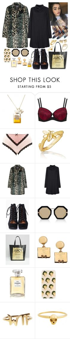 """suri regina gambaro, another concept"" by kinathegreat ❤ liked on Polyvore featuring Ashley Graham, Charlotte Russe, Mimi So, Yoek, Karen Walker, Juicy Couture, Moschino, Chanel, Zara Simon and Nadine S"