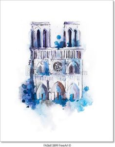 """Watercolor Drawing Of Notre-Dame. Aquarelle Paris View Painting"" - Art Print from FreeArt.com"