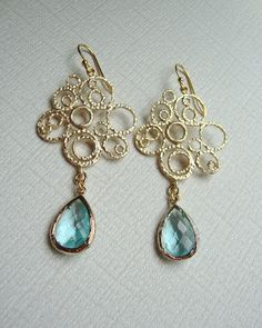 Aquamarine and Gold Bubble Earrings by DesignsbyJocelyn on Etsy, $30.00