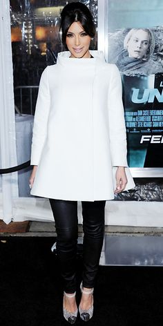 Kim Kardashian 2011 Looks - Stella McCartney coat, K-Dash leather pants, Helmut Lang top, and Christian Louboutin shoes