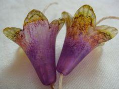 Vintage Meadow Artworks Acrylic Trumpet Flowers Purple / Green. $15.00, via Etsy.