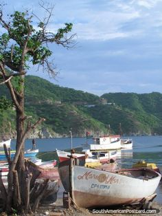 Boats moored, morning at the beach, Taganga, Colombia