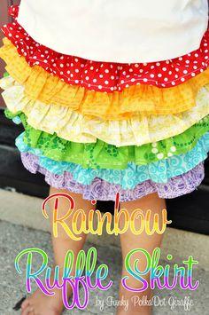 Funky Polkadot Giraffe: Rainbow Ruffle Skirt - even love the little pin/headband bauble