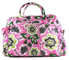 Vera Bradley Priscilla Pink Weekender Zip Duffle Bag -  Vera Bradley Weekender Bag in Priscilla Pink Design. Quilted pattern cotton fabric. Features fully zippered front compartment and two back slip pockets, five inner pockets to keep small items upright... - Travel Duffels - Apparel - $79.99