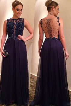 7e461f0f5 Sexy Navy Blue Chiffon Strapless Long Prom Dresses See Through Back Formal  Dress Evening Party Gown