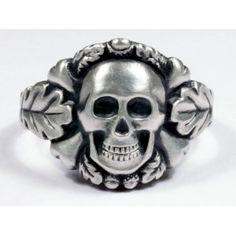 German skull ring in silver