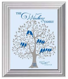 Personalized Family Tree - Grandparents Gift - Gift from kids - Anniversary Gift - Gift for Parents- Other colors available. $15.00, via Etsy.