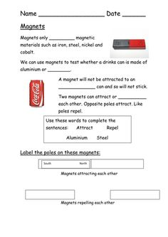 Topic - attract or repel magnets. Simple worksheet for lower ability students. Also ideal for special educational needs or where English isn't their first . Science Ideas, Science Experiments Kids, Science Lessons, Science For Kids, Magnets Science, Kids Magnets, Eal Resources, Teacher Resources, Physics Projects