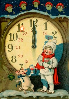 Happy New Year Greetings, Happy New Year 2019, Christmas And New Year, Winter Christmas, New Year Gif, 1 Gif, Illustrations, Vintage Holiday, Big Eyes