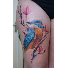 Eisvogel tattoo realistik watercolor Mix - kingfisher Watercolor Mixing, Watercolor Tattoo, Leg Tattoos, I Tattoo, Kingfisher Tattoo, Hummingbird Tattoo, Bird Art, Tatting, Beauty Makeup