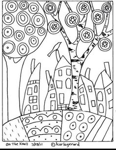 17 Ideas For Embroidery Patterns Tree Folk Art Rug Hooking Doodle Coloring, Colouring Pages, Adult Coloring Pages, Coloring Books, Pattern Coloring Pages, Art Populaire, House Quilts, Rug Hooking, Pattern Paper